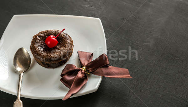 Fondant decorated with cocktail cherry Stock photo © Alex9500