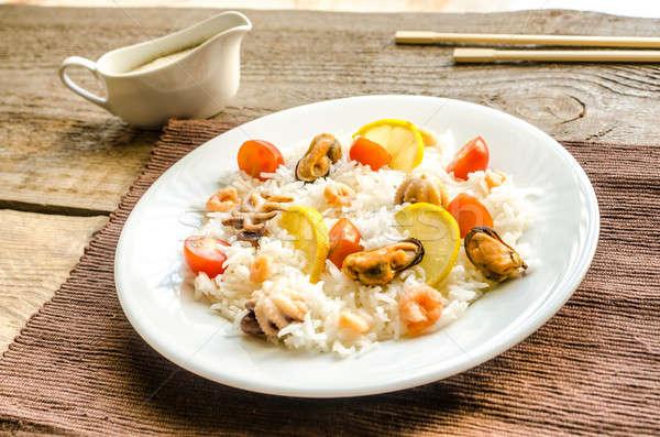 Basmati riso frutti di mare pesce mare sfondo Foto d'archivio © Alex9500
