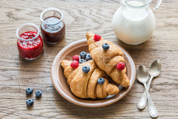 Croissants with fresh berries and jam Stock photo © Alex9500