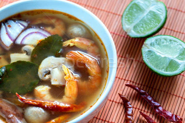 Tajska yum zupa żywności liści pomarańczowy Zdjęcia stock © Alex9500