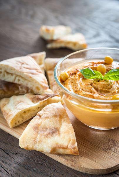 A bowl of hummus with pita slices Stock photo © Alex9500