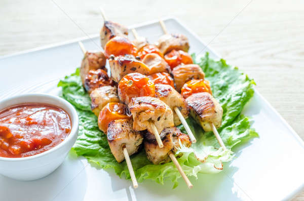 Grilled chicken skewers with cherry tomatoes Stock photo © Alex9500