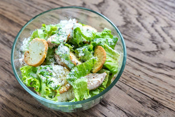 Bowl of chicken Caesar salad Stock photo © Alex9500