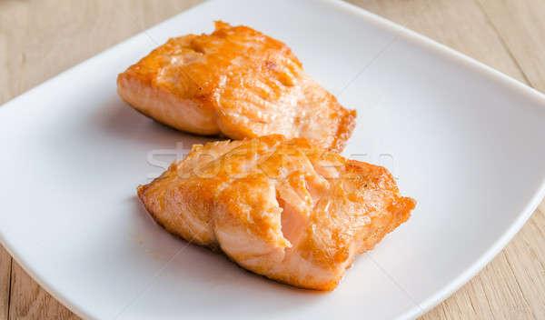Roasted salmon steak Stock photo © Alex9500