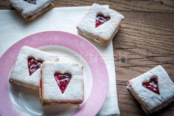 Pecan Cookies with Cherry Filling Stock photo © Alex9500
