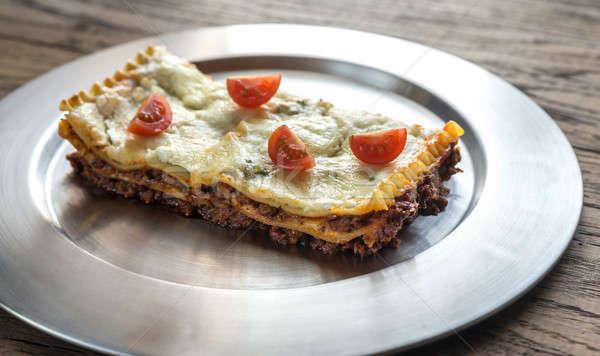Lasagna metal piatto alimentare sfondo ristorante Foto d'archivio © Alex9500