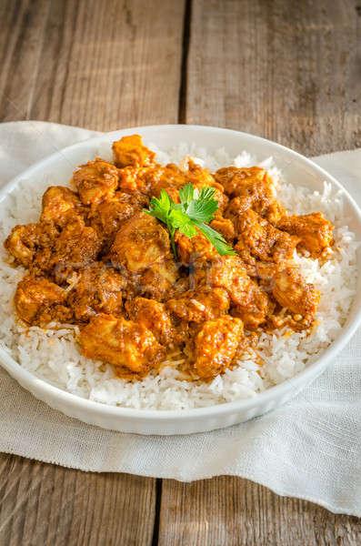 Stock fotó: Indiai · vaj · tyúk · étel · zöld · vacsora