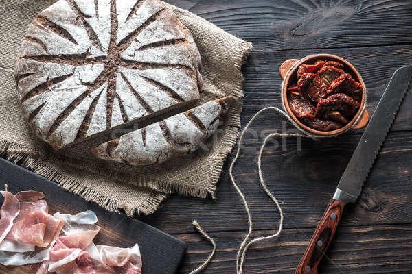Rye bread with antipasto Stock photo © Alex9500