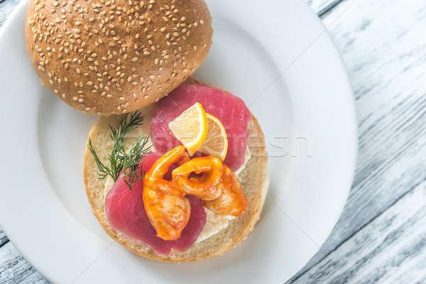 Sandwich with tuna, crab claw and mozzarella Stock photo © Alex9500