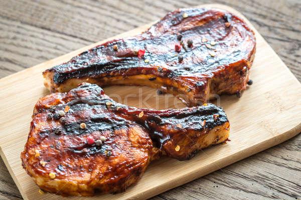 Grelhado carne de porco costelas vermelho carne Foto stock © Alex9500
