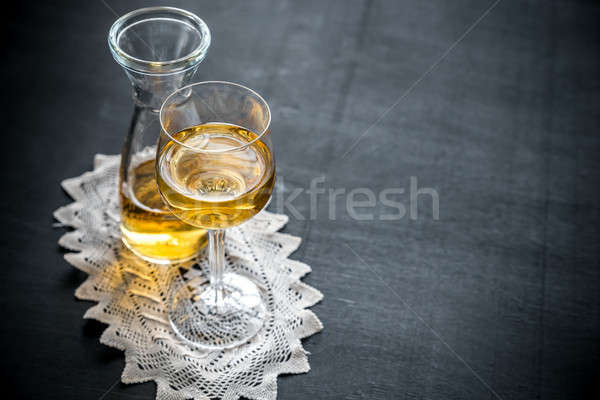 Glass of white wine in vintage decor Stock photo © Alex9500