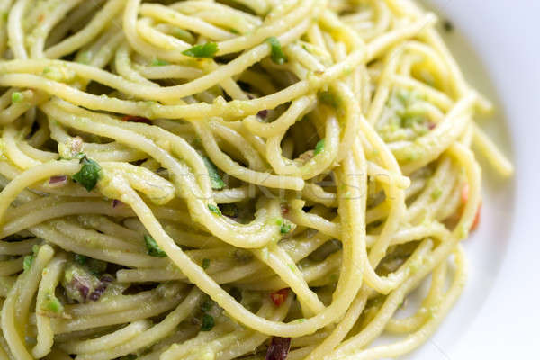 Pasta with guacamole sauce Stock photo © Alex9500