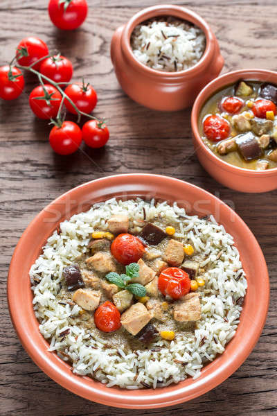 Thai green chicken curry with mix of white and wild rice Stock photo © Alex9500