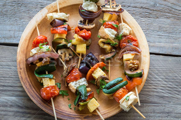 Grilled vegetable skewers on the plate Stock photo © Alex9500