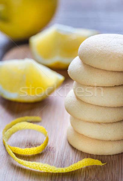 ビスケット レモン クリーム 木板 食品 ガラス ストックフォト © Alex9500