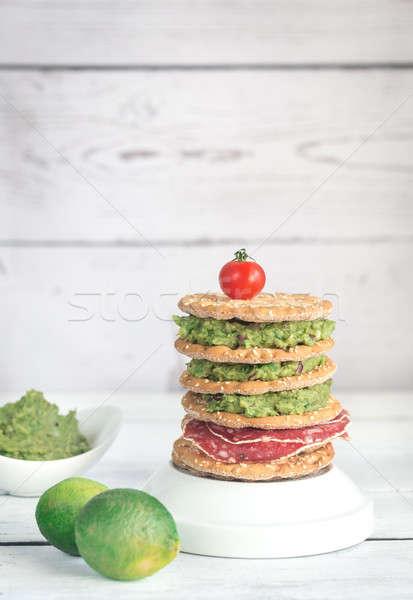 Sesamo affumicato salsiccia alimentare sfondo pomodoro Foto d'archivio © Alex9500