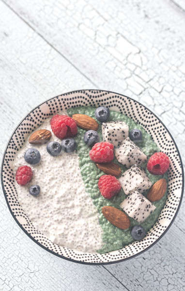 Bowl of pudding with superfoods Stock photo © Alex9500