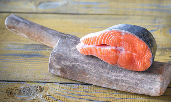 Raw salmon steak on the wooden board Stock photo © Alex9500