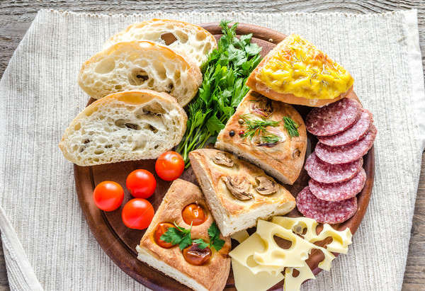 Traditional italian bread with cheese and salami Stock photo © Alex9500