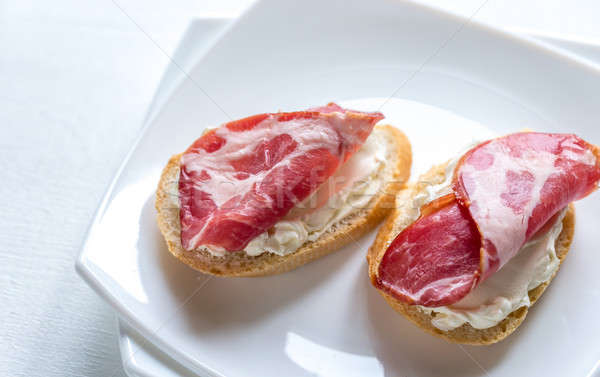 Sandwiches with cream cheese and ham Stock photo © Alex9500