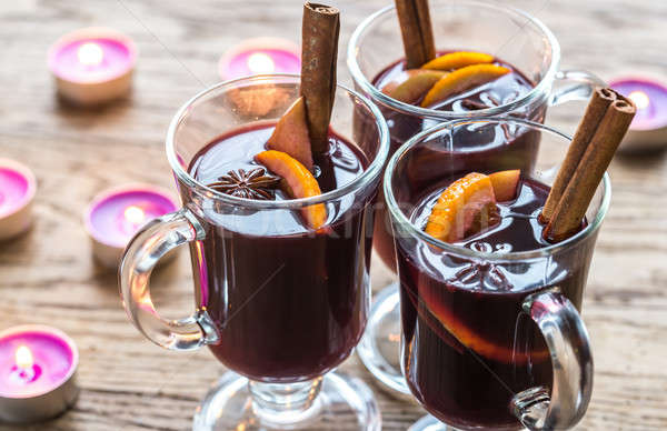 Glasses of mulled wine in candlelight Stock photo © Alex9500