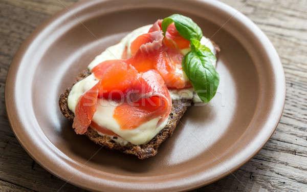 Sanduíche truta tomates fitness restaurante Foto stock © Alex9500
