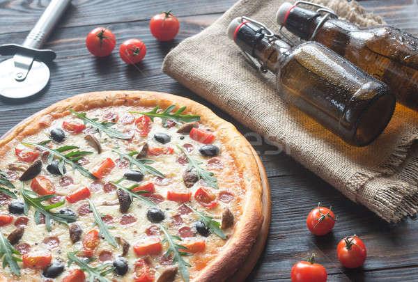 Főtt pizza sör étel üveg háttér Stock fotó © Alex9500