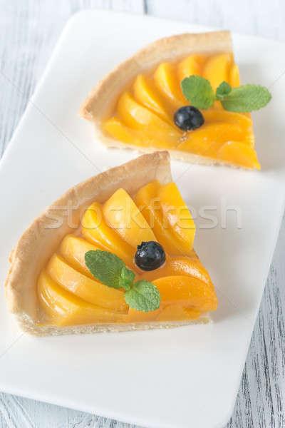 Stockfoto: Taart · perziken · vruchten · zomer