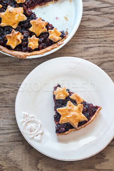 Portion of mince pie on the wooden background Stock photo © Alex9500