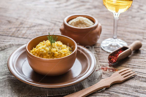 Risotto with saffron and parmesan Stock photo © Alex9500