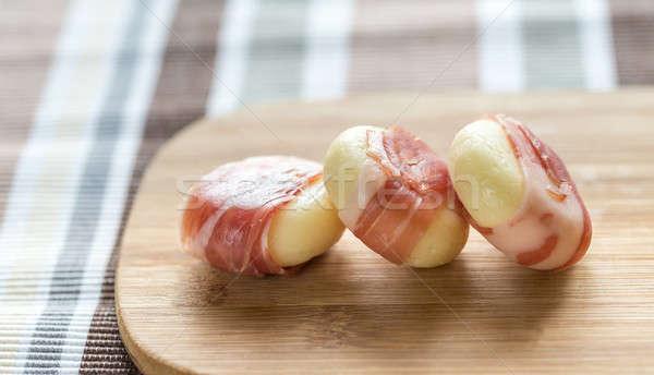 Mini queijo prosciutto fundo tabela Foto stock © Alex9500