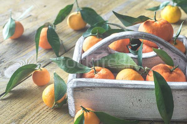 Taze ahşap kutu gıda arka plan turuncu Stok fotoğraf © Alex9500