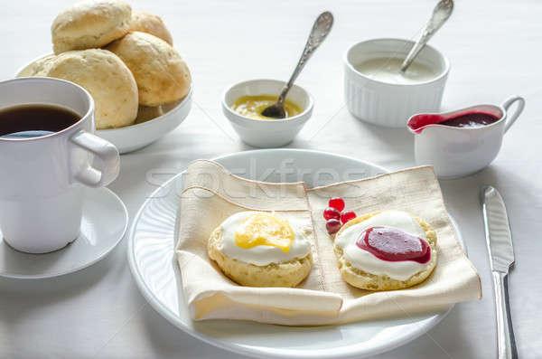 Citrom étel tányér eper kés szín Stock fotó © Alex9500