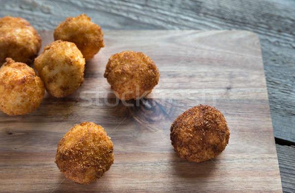 Rizs golyók mozzarella fa deszka étel étterem Stock fotó © Alex9500