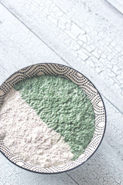 Bowl of chia seed and spirulina pudding Stock photo © Alex9500