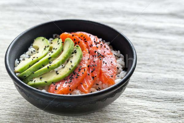 White rice with salmon and avocado Stock photo © Alex9500