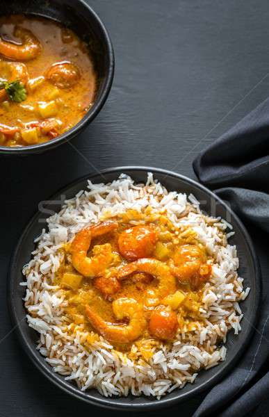 Thai yellow curry with seafood and white rice Stock photo © Alex9500