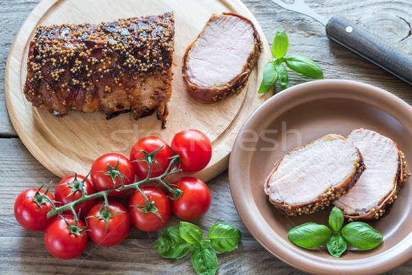 Carne de porco carne bacon folha tabela Foto stock © Alex9500
