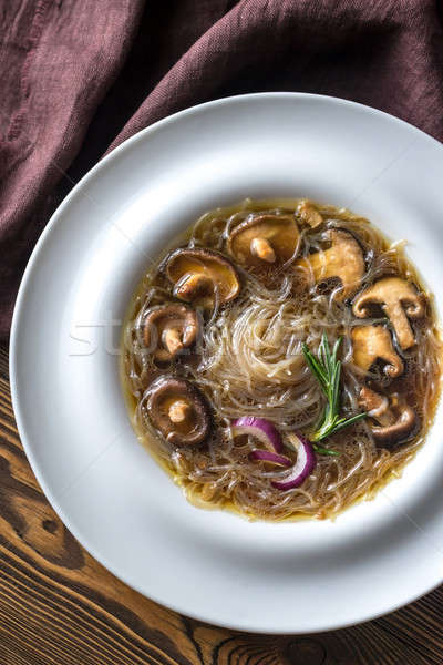 Foto stock: Porción · jengibre · sopa · mesa · de · madera · mesa · cena