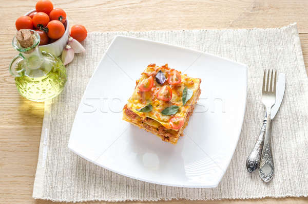Lasagna pomodorini alimentare formaggio grano forcella Foto d'archivio © Alex9500