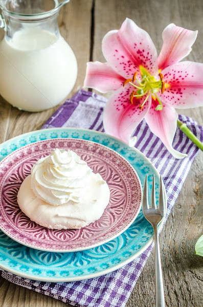 Stock photo: Meringue cake
