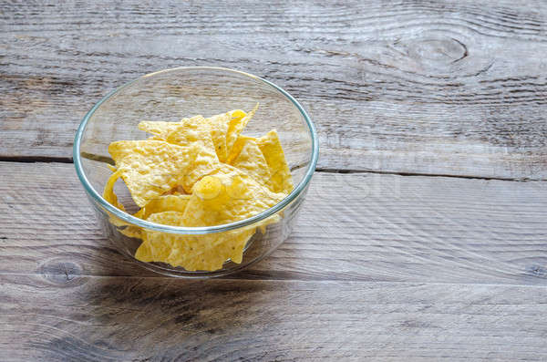 Foto stock: Milho · batatas · fritas · vidro · tigela