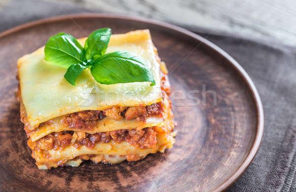 Porción clásico lasaña alimentos hoja vidrio Foto stock © Alex9500