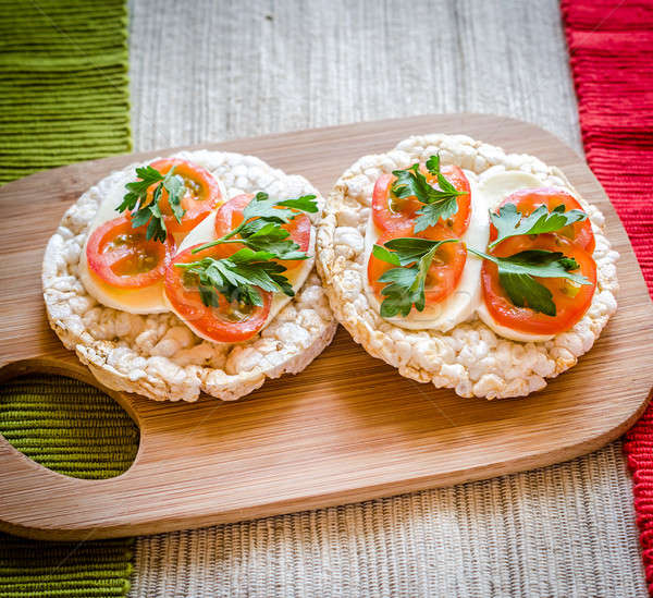 Gluten-free sandwiches with mozzarella and tomatoes Stock photo © Alex9500