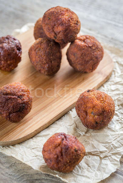 Bowl of meatballs on the wooden background Stock photo © Alex9500