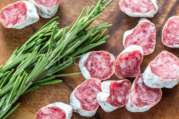 Fatias espanhol salame comida carne Foto stock © Alex9500