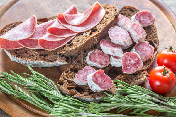 Sandwiches with salami Stock photo © Alex9500