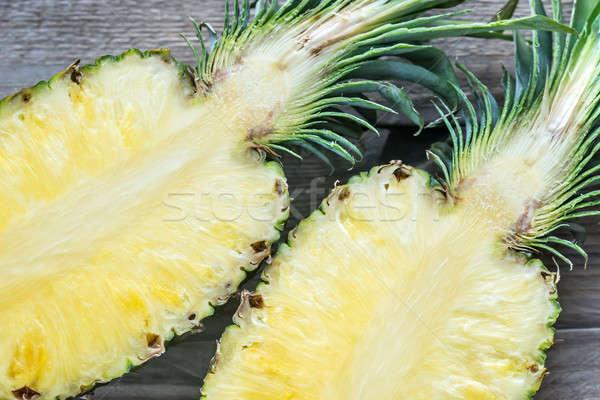 Ananas houten doorsnede achtergrond leven tropische Stockfoto © Alex9500