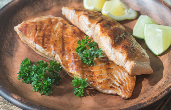 Roasted salmon steak with fresh parsley Stock photo © Alex9500