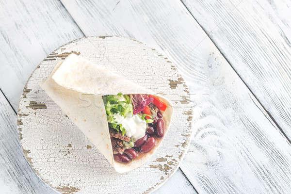 Burrito with meat and guacamole Stock photo © Alex9500